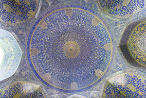 Iran, Central Iran, Esfahan, Naqsh-e Jahan Imam Square, Royal Mosque, interior mosaic