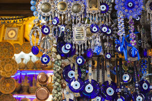 Iran, Central Iran, Shiraz, Bazar-e Vakil market, traditional evil eye souvenirs