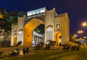 Iran, Central Iran, Shiraz, Quran Gateway, dusk