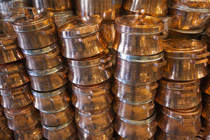 Iran, Southeastern Iran, Kerman, End to End Bazaar, copper pots