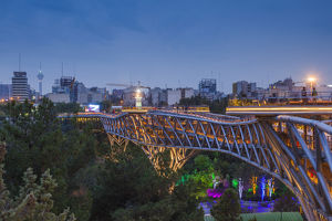 Iran, Tehran, city skyline from the Pole e Tabiat Nature Bridge, designed by