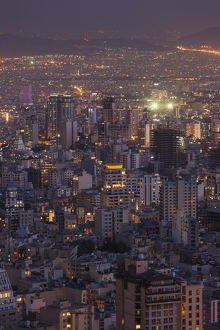 Iran, Tehran, elevated city skyline with view tfrom the Roof of Iran Park towards