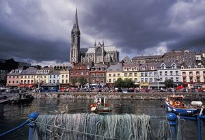 Ireland, County Cork, Cobh. Harbor view and St. Colman's church