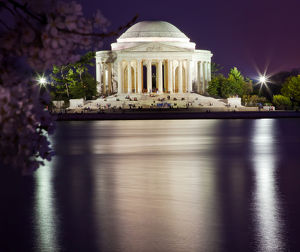 Jefferson Memorial Cherry Blossoms Statue and Tidal Basin in April with Reflection