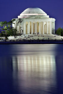 Jefferson Memorial and Tidal Baisn in April with Reflection