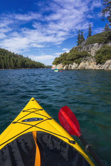 Kayaking in Emerald Bay at Fannette Island, Emerald Bay State Park, Lake Tahoe, California
