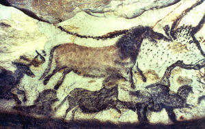 Lascaux cave painting. Bulls & horses. Copyright: AAA Collection Ltd