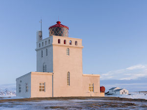 The lighthouse at cape Dyrholaey. Coast of the North Atlantic near Vik y Myrdal during