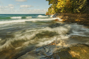 Long exposure of waves on Lake Superior in fall, Pictured Rocks National Lakeshore
