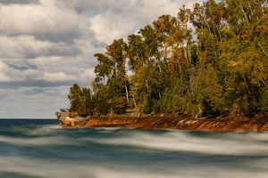 Long exposure of waves along shoreline of Lake Superior, Pictured Rocks National Lakeshore