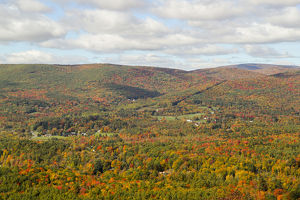 Looking out over the autumn landscape from Route 2 in Western Massachusetts, USA