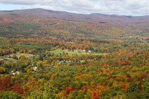 Looking out over the autumn landscape from Route 2 in Western Massachusetts, United States