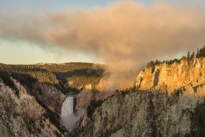 Lower Yellowstone Falls at sunrise, Grand Canon of Yellowstone, Yellowstone National Park