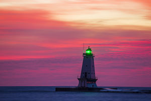 Ludington North Pierhead Lighthouse at sunset on Lake Michigan, Mason County, Ludington