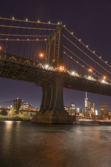 The Manhattan Bridge and Manhattan skyline in the evening light from Brooklyn Bridge Park