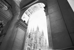 Milano Italy, Galleria View of the Duomo