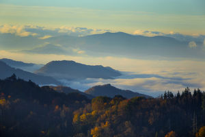 Mist in the valleys at sunrise at Clingmans Dome, Great Smoky Mountains National Park