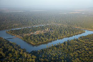 Moat around Angkor Wat, UNESCO World Heritage Site, Siem Reap, Cambodia - aerial