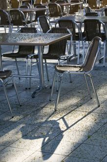 Montenegro, Becici. Becici Beach - Beach Cafe Tables and Chairs