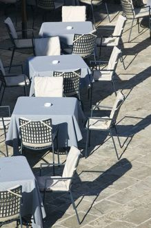 Montenegro, Budva. Budva Old Town / Stari Grad, Cafe Tables and Chairs