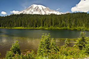 Mount Rainier and Reflection Lake; Mount Rainier National Park; Washington; USA