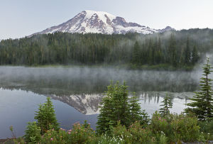 Mount Rainier, reflection, Mirror Lake, Mount Rainier National Park, Washington, USA