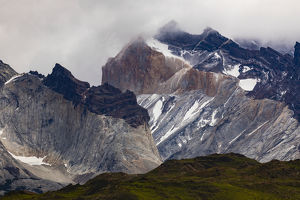 Mountains and mist, Torres del Paine National Park, Chile, Patagonia, South America