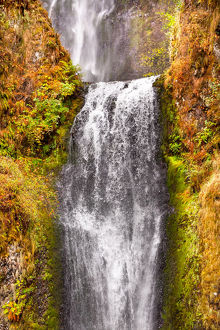 Multnomah Falls Waterfall Autumn, Fall Columbia River Gorge, Oregon, Pacific Northwest