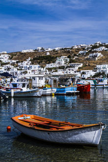europe/greece/mykonos greece orange white boat floats water