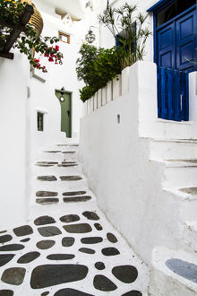 europe/greece/mykonos greece rock stucco patio stairs leads