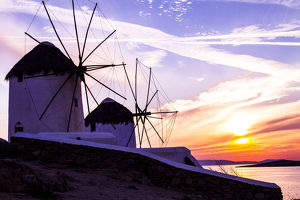 europe/greece/mykonos greece windmills golden pink blue