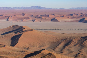 Namibia. Aerial view of the vast red dune fields of Sossusvlei in Namib-Naukluft