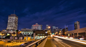 Nashville Tennessee city skyline at twilight from the west side with traffic