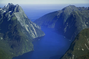 New Zealand's South Island. Aerial view of Milford Sound