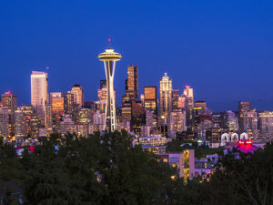North America;USA;Washington;Seattle;Seattle Skyline at Dusk