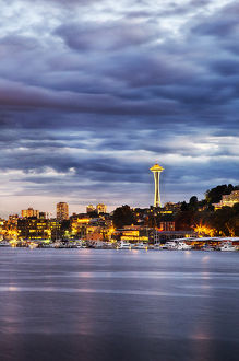 North America;USA;Washington;Seattle;Seattle Evening light as viewed from Lake Union