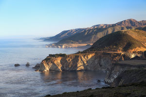 Northward view of Coastline from Big Sur, California at sunrise
