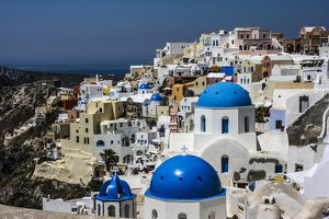 europe/greece/oia santorini greece blue dome greek orthodox