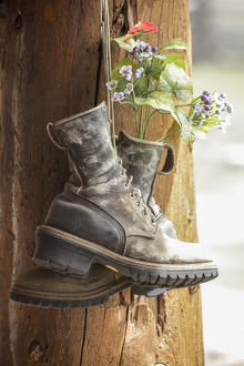 Old boots used a decoration, Pagosa Springs, Colorado, United States