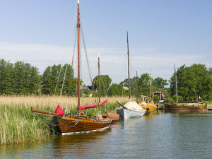 The old Harbour in Wieck at the Bodstedter Bodden close to the Western Pomerania