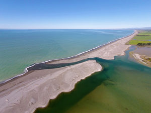 Opihi River Mouth, near Temuka, South Canterbury, South Island, New Zealand - drone