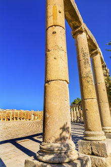 Oval Plaza 160 Ionic Columns Ancient Roman City Jerash Jordan