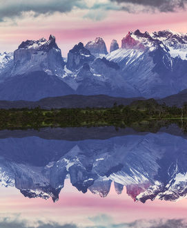 Paine Massif reflection at sunset, Torres del Paine National Park, Chile, South America