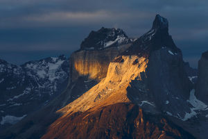 Paine Massif at sunset, Torres del Paine National Park, Chile, South America, Patagonia