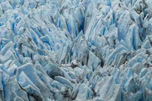 Pattern in blue ice of Grey Glacier, Torres del Paine National Park, Chile, South America