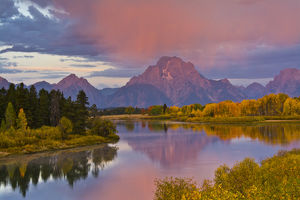 pink sunrise in autumn, Oxbow, Grand Teton National Park, Wyoming, USA