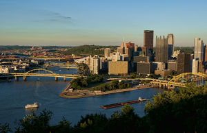 Pittsburgh Pennsylvania and the Three Rivers taken from Mt Washington showqing skyline