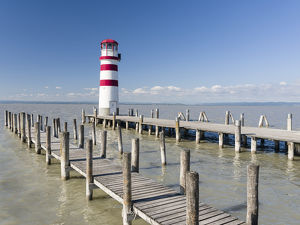 Podersdorf am See on the shore of Lake Neusiedl. The lighthouse in the domestic port