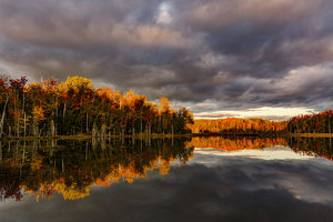 Red Jack Lake and sunrise reflection, Alger County, Upper Peninsula of Michigan
