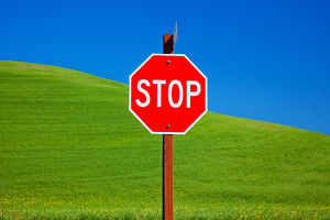 Red Stop Sign Green Wheat Grass Fields Blue Skies Abstract Palouse Washington State